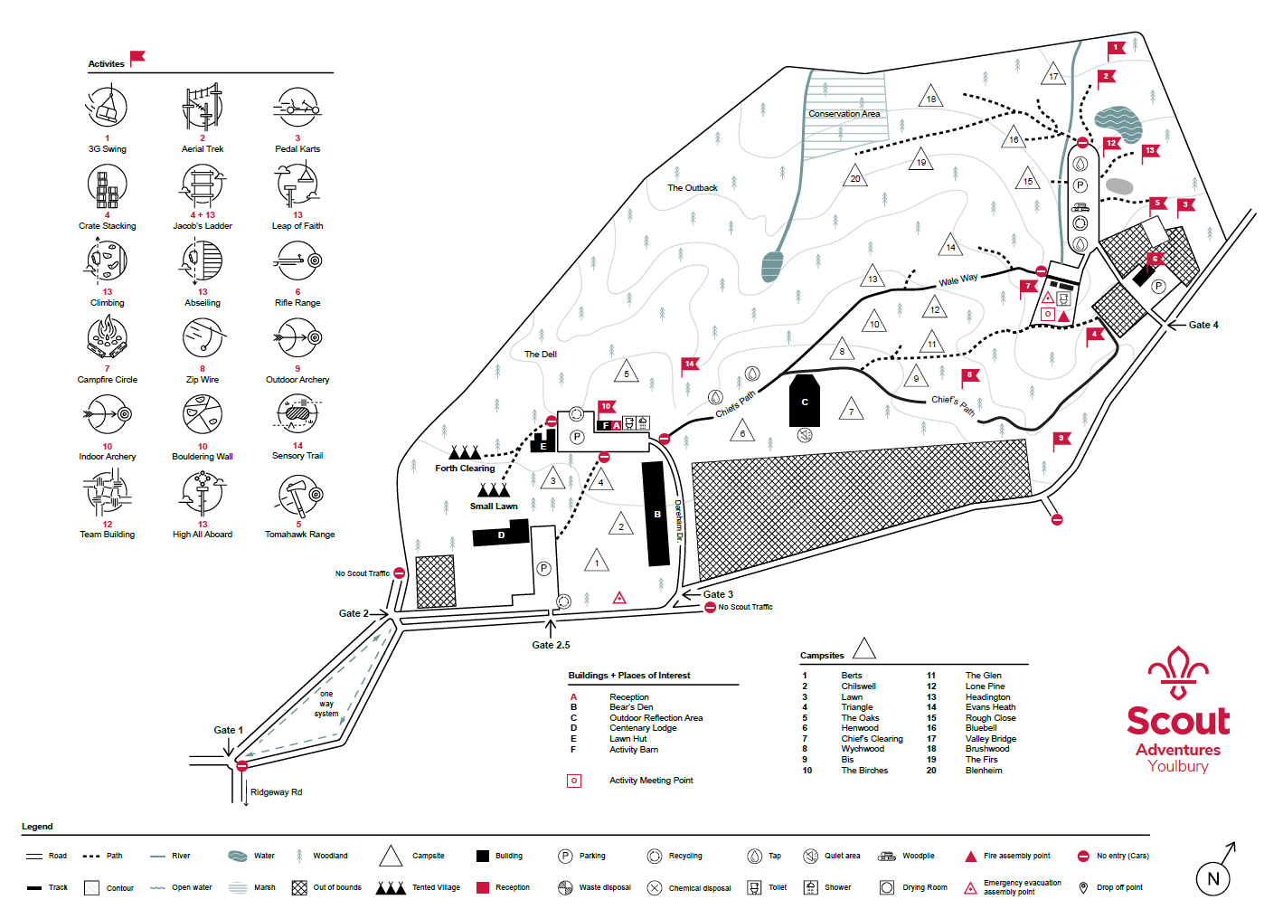Youlbury site map